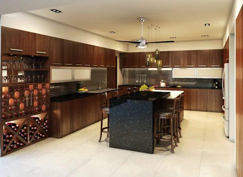 cocina en color chocolate y negro