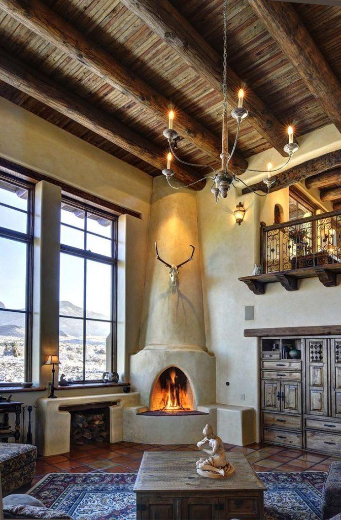 Casa rural con chimenea artistica