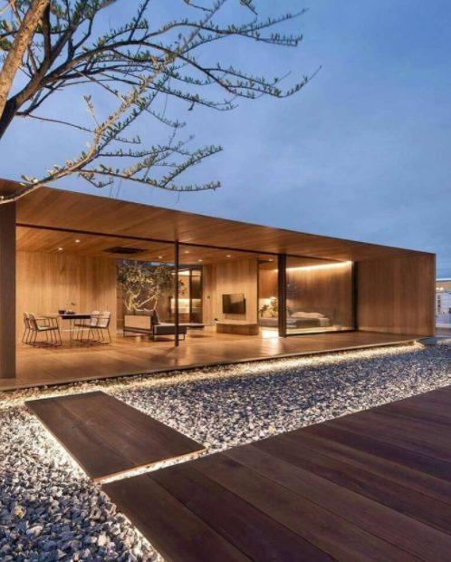 Casas planta baja modernas en madera