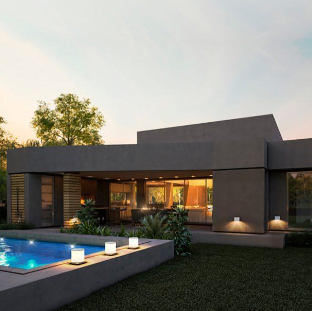 Casas planta baja modernas en gris y con piscina