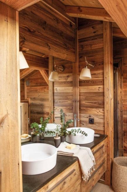 baños pequeños rústicos en madera
