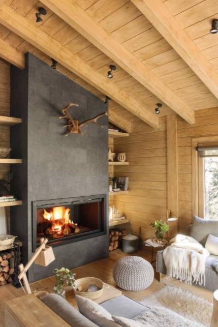 casas de campo rústicas acogedora con chimenea