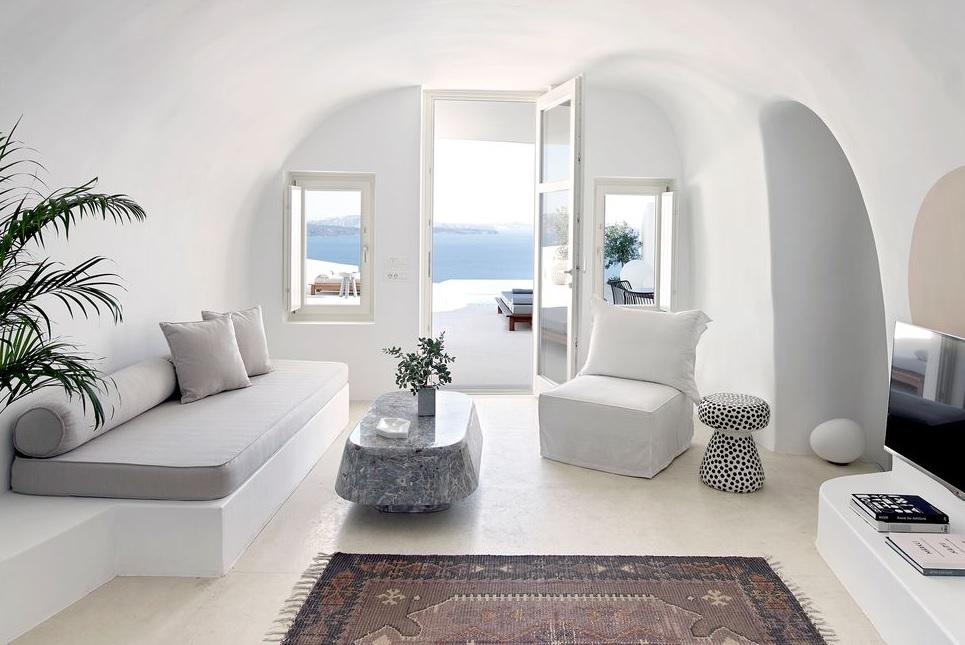 casas estilo mediterráneo griego en piedra