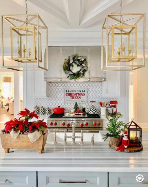 decoración navideña para barras de cocina con adornos