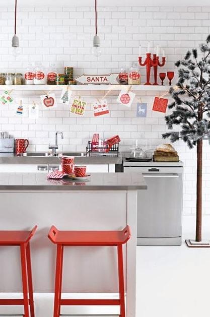 decoración navideña para barras de cocina con vajillas