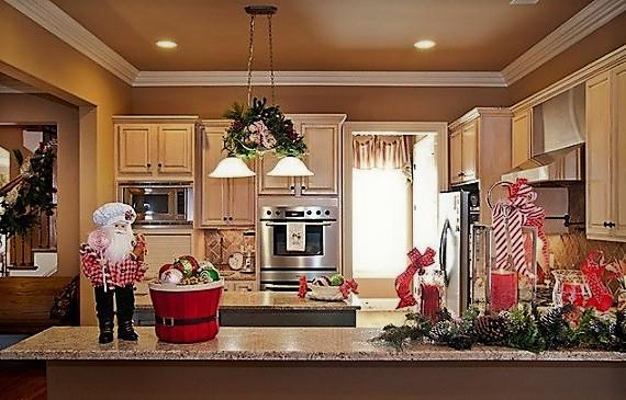 decoración navideña para barras de cocina con papa noel