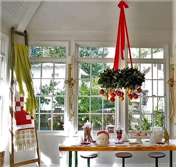 decoración navideña para barras de cocina acogedora