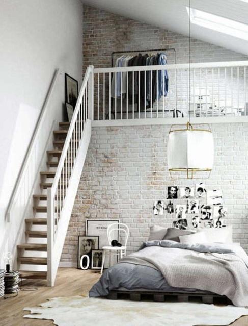 Dormitorio estilo nórdico industrial diafano