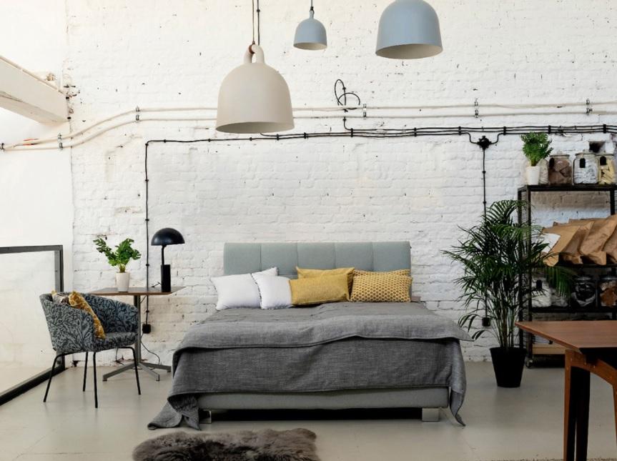 Dormitorio estilo nórdico industrial y blanco