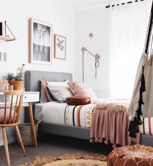 Dormitorio juvenil estilo nórdico y moderno