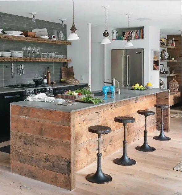 Reciclando para decorar en una cocina estilo industrial