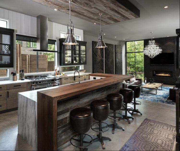 Ambiente refinado en una cocina estilo industrial