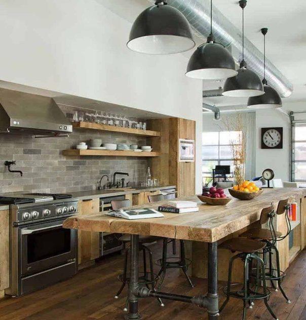Amplio y robusto estilo industrial en esta cocina