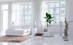 Habitación con paredes blancas muy actuales y relajantes