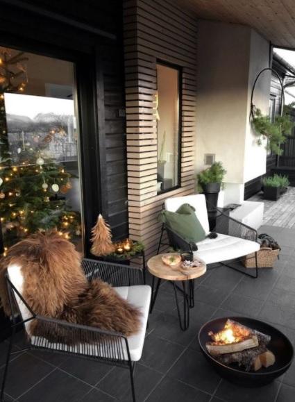 decorar la terraza en navidad elegante