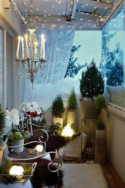 decorar la terraza de blanca navidad