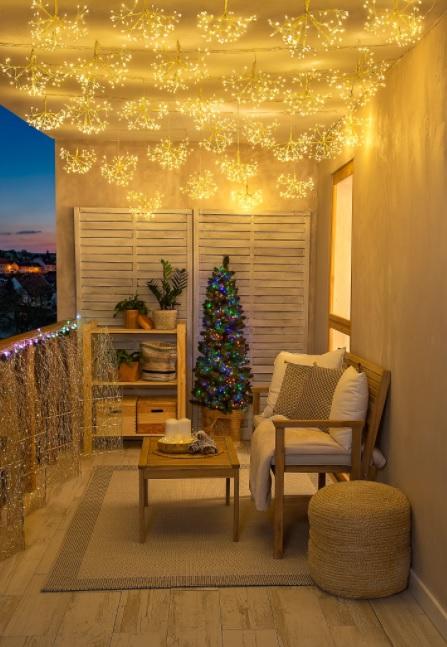 decorar la terraza de dorada navidad