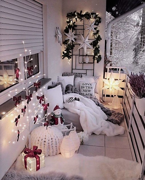 decorar la terraza de navidad chic