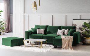 cojines para un sofá verde botella