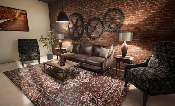 Salón Rústico Industrial con un aire Vintage