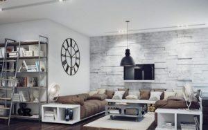 salón minimalista blanco